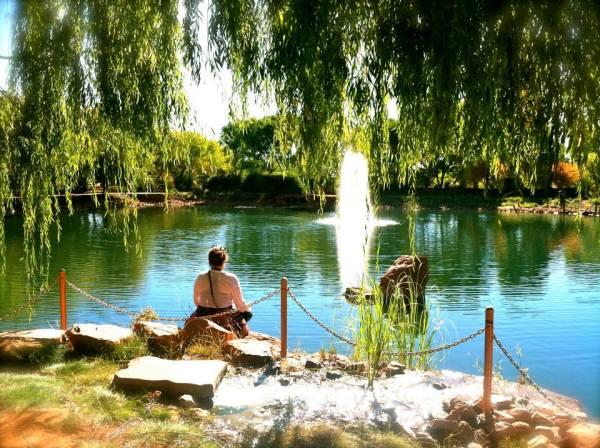 My blissful waterfront meditation. Photo by Beth Lavinder